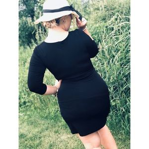EXPRESS black zip wrap sexy low cut dress medium